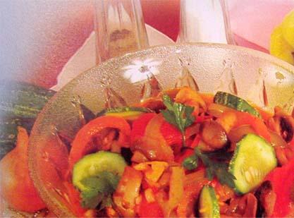 рагу из болгарского сладкого перца и грибов